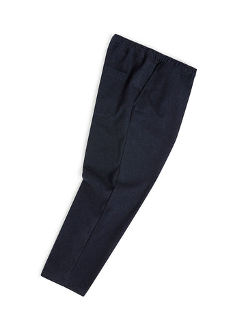 Wool Drawstring Trouser in Navy Melange