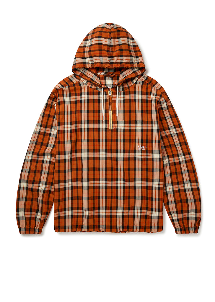 Utility Hooded Overshirt in Orange Check