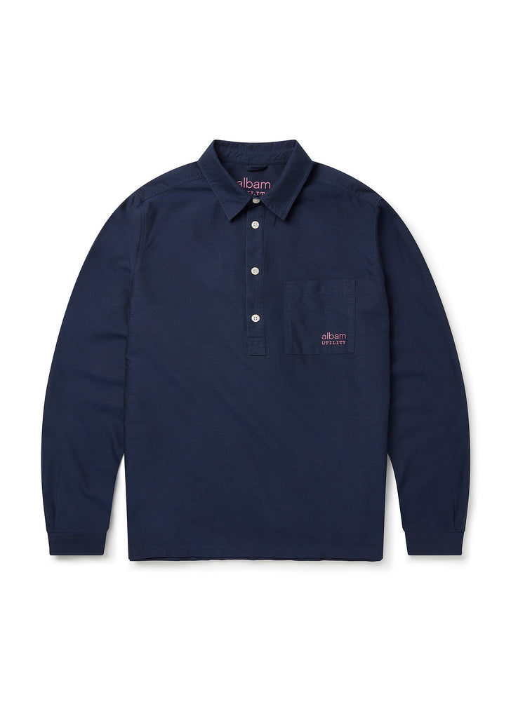 Utility Long Sleeve Pullover Shirt in Navy