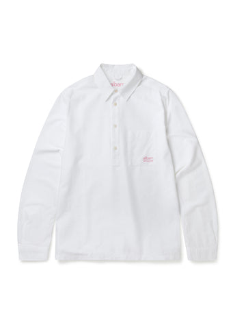 Utility Long Sleeve Pullover Shirt in White