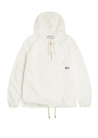 Utility Nylon Hooded Overshirt in Ecru