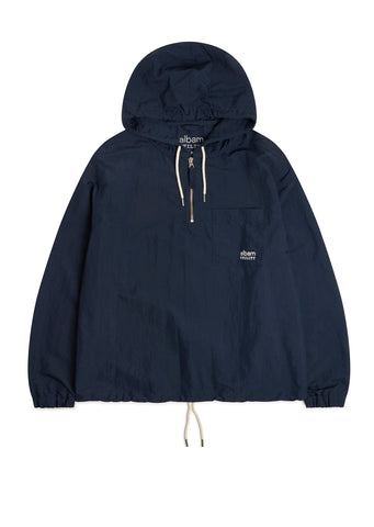 Utility Nylon Hooded Overshirt in Navy