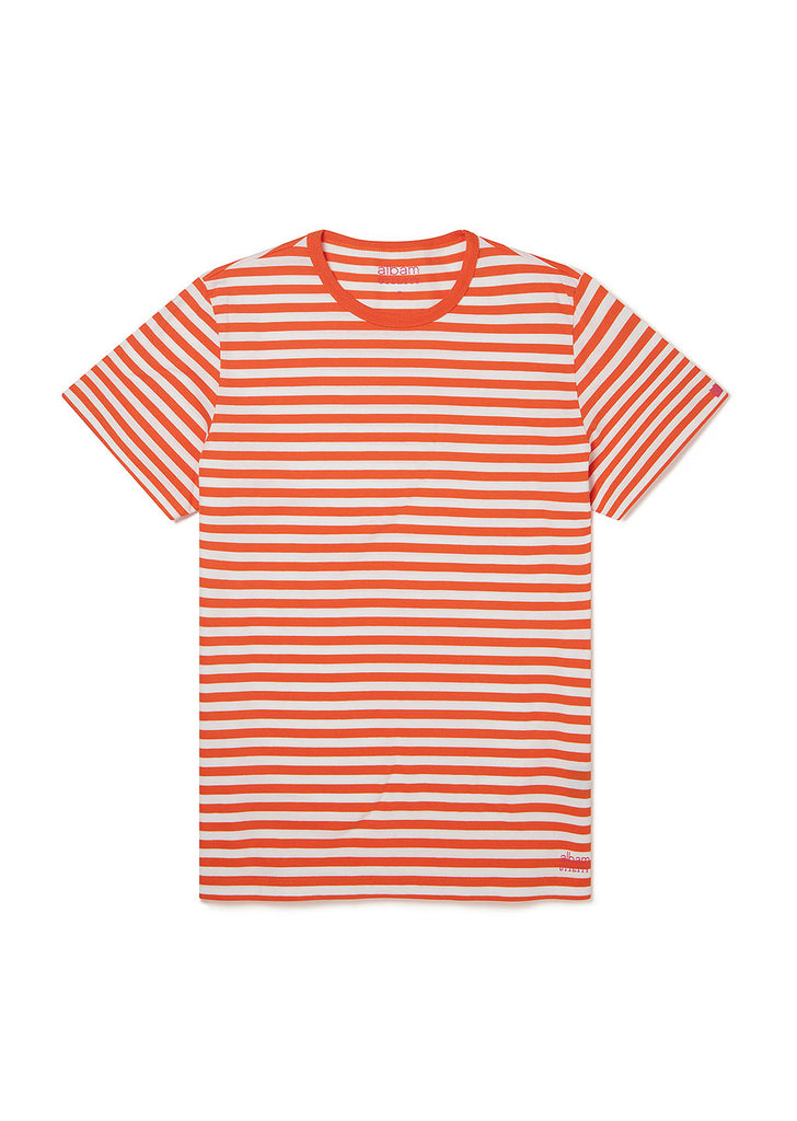 Utility Engineered Stripe T-Shirt in Orange/White