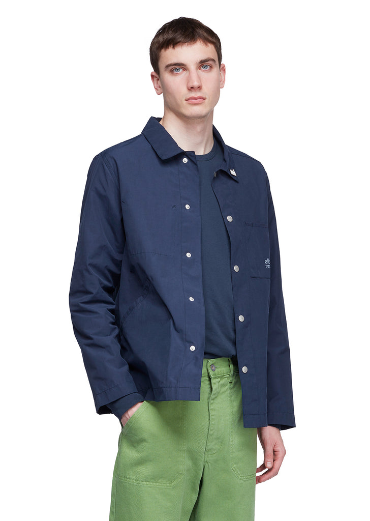 Utility Cotton Poly Work Jacket in Navy