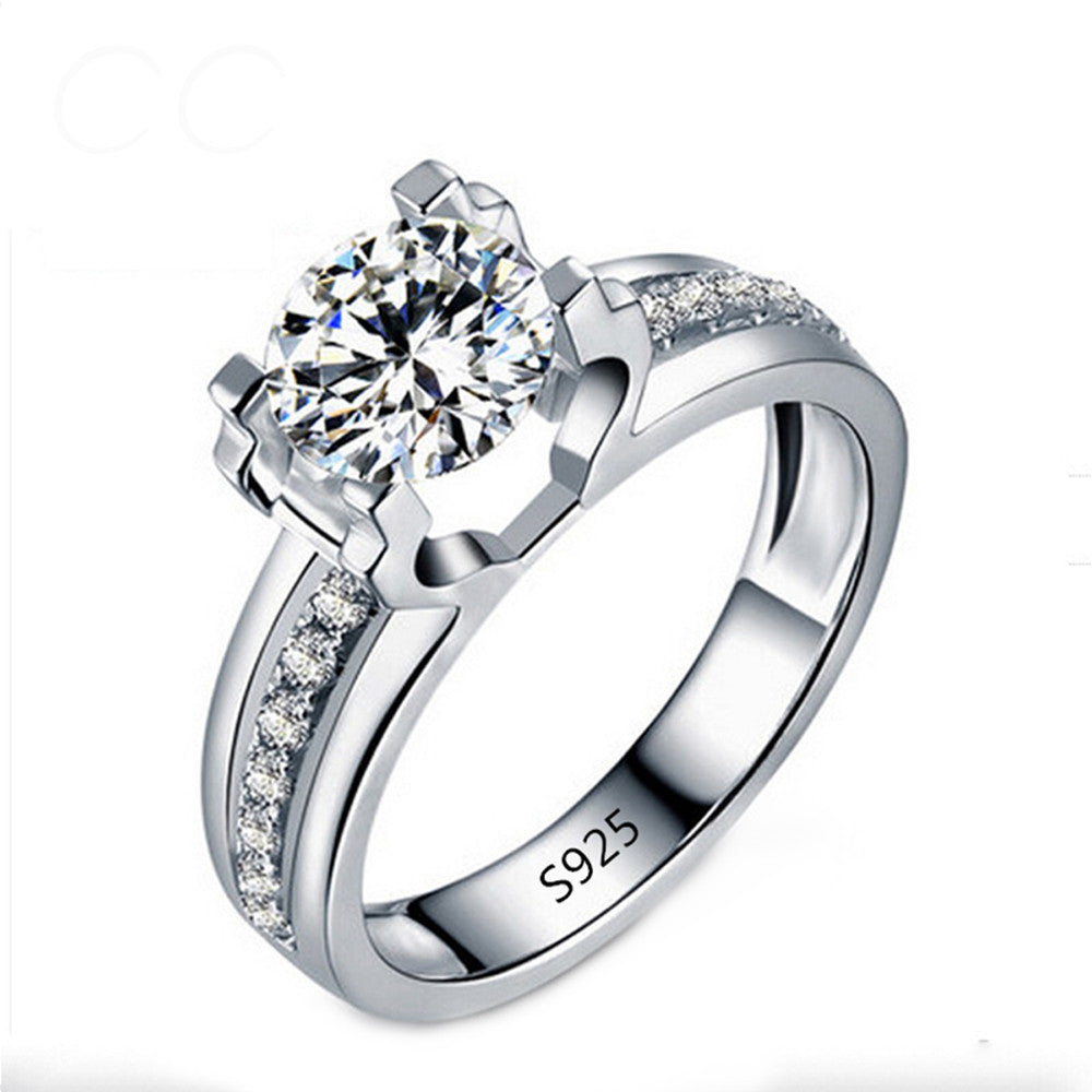 1.5 Carat White Gold Plated AAA Austrian Crystals Wedding Ring - DesignIN