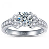 White Gold Plated Engagement Ring With Brilliant AAA Cubic Zircon Solitaire - DesignIN