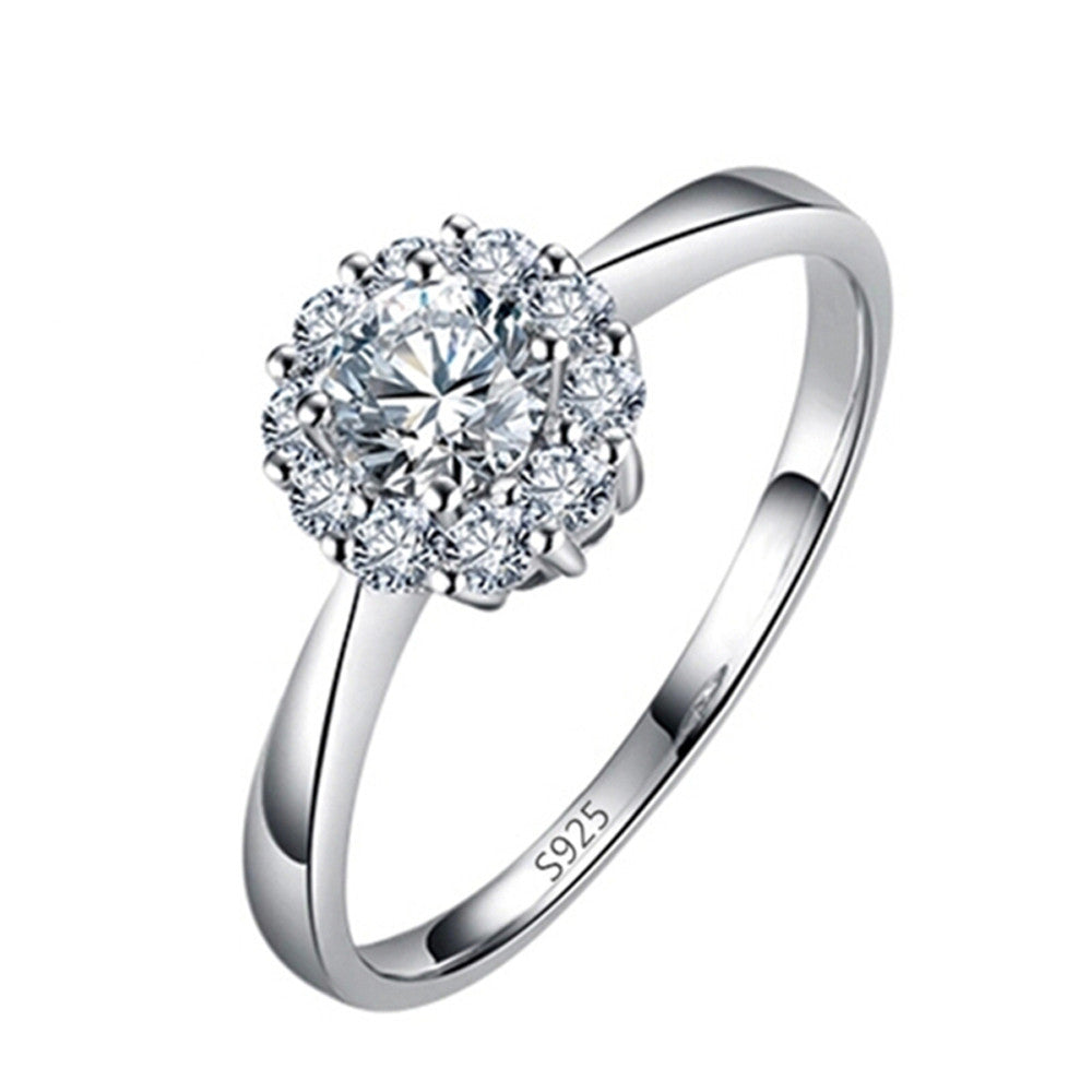 Silver Plated Engagement Ring AAA Cubic Zirconia Ring - DesignIN