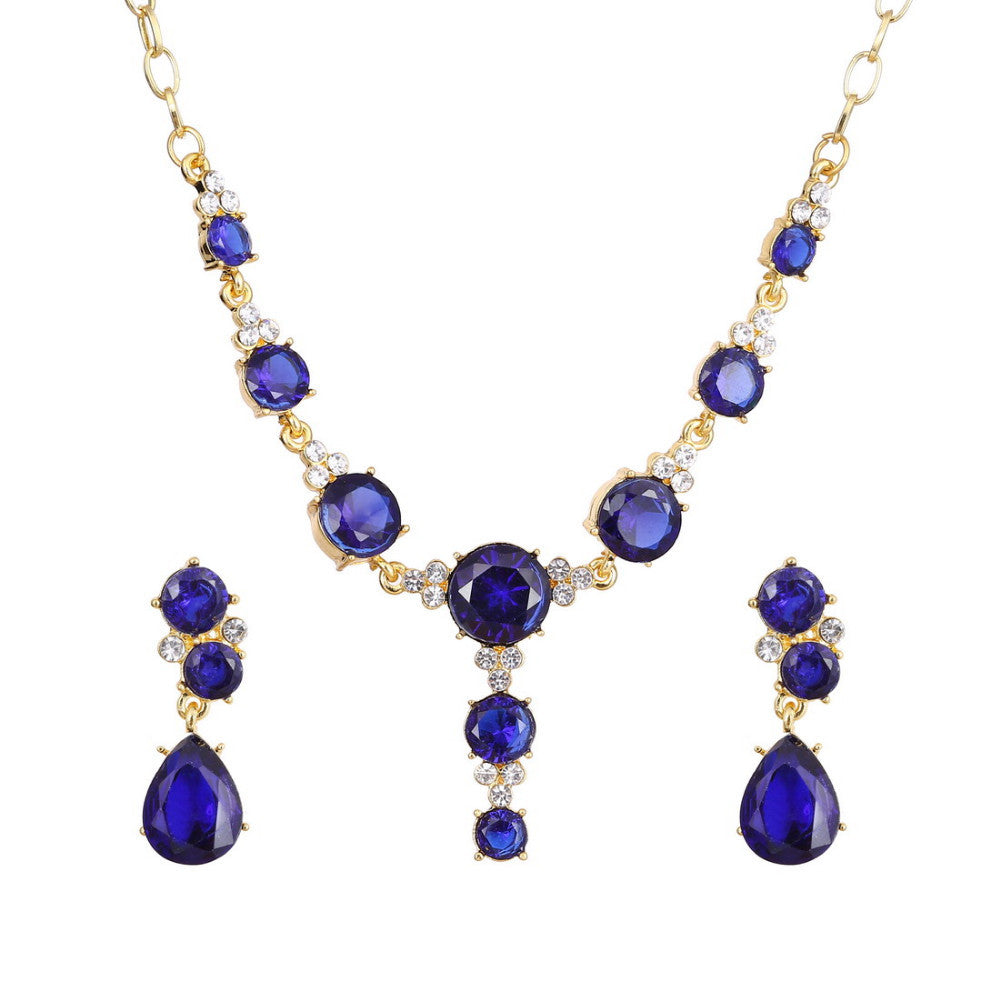 18k Gold plated Indigo Blue AAA+ Austrian Crystal Drop Pendant Necklace Earrings Jewelry Set - DesignIN