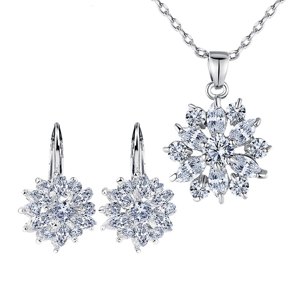 Luxury Platinum Plated Flower Jewelry Sets For Women with White AAA Cubic Zircons - DesignIN