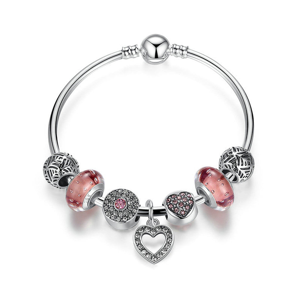Silver Plated Charm Friendship Bracelet with Heart Pendant - DesignIN