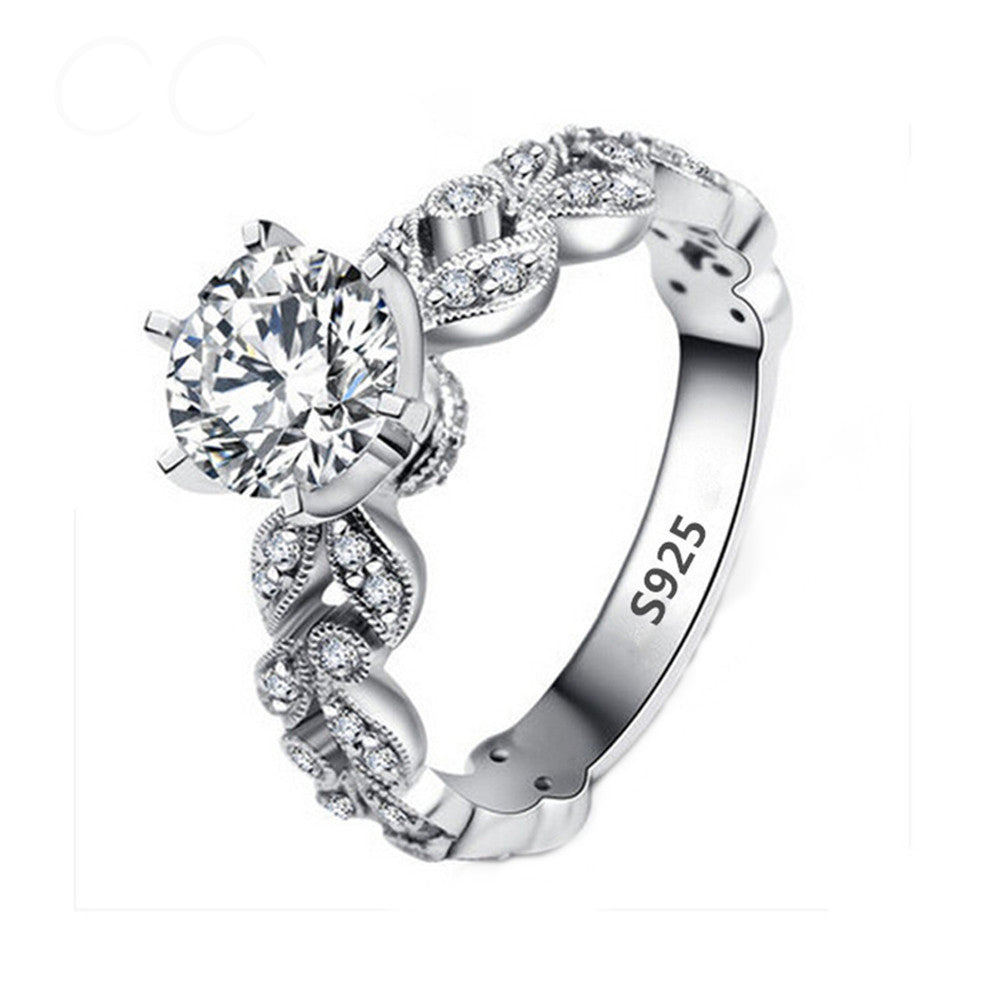 1.5 Carat AAA Brilliant Cubic Zirconia White Gold Plated Silver Alloy Ring - DesignIN
