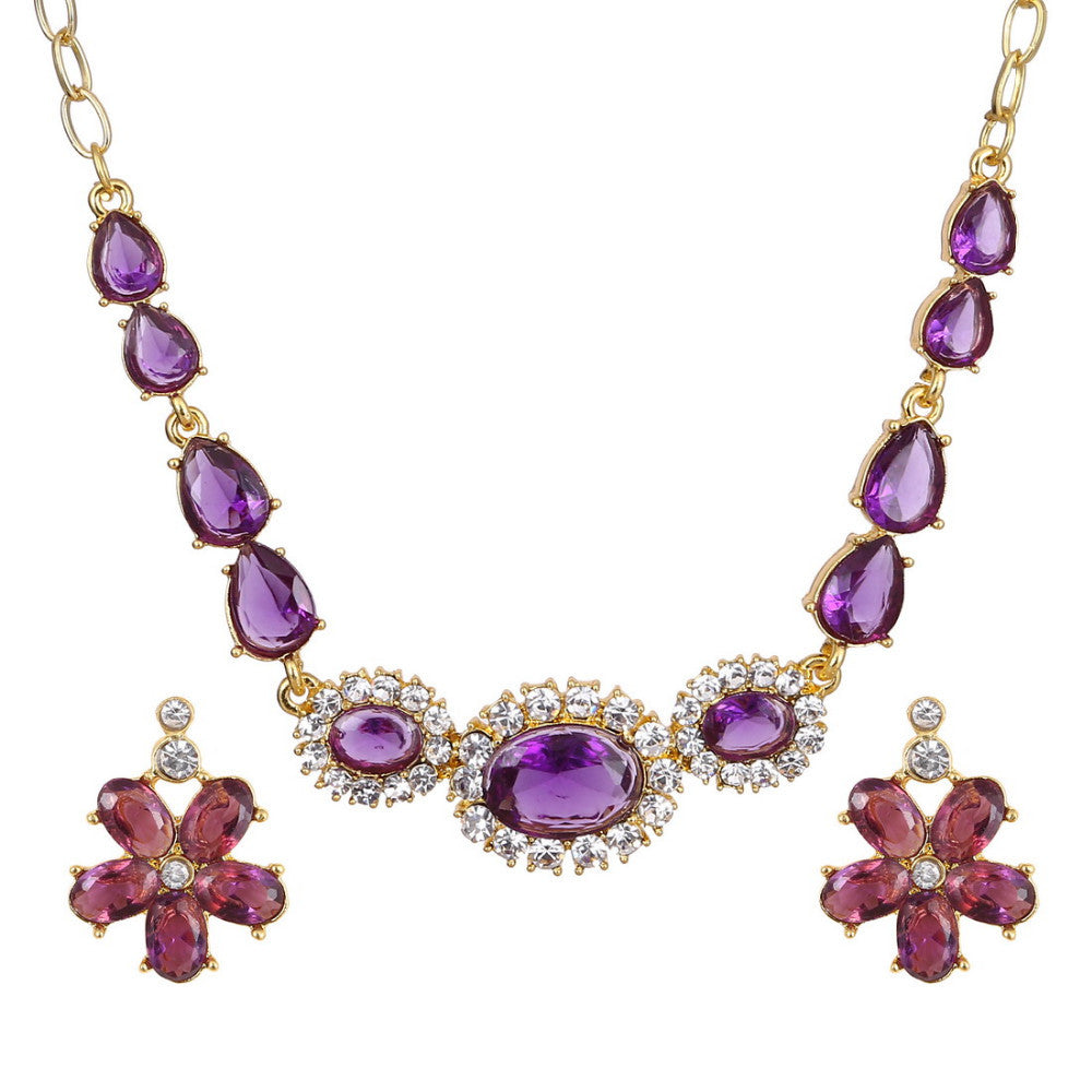 Classic Flower Design 18K Gold Plated Light Purple AAA+ Austrian Crystal Jewelry Set - DesignIN