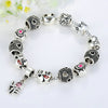 Silver Plated Pink Charm Bracelet with Love & Heart Charms - DesignIN