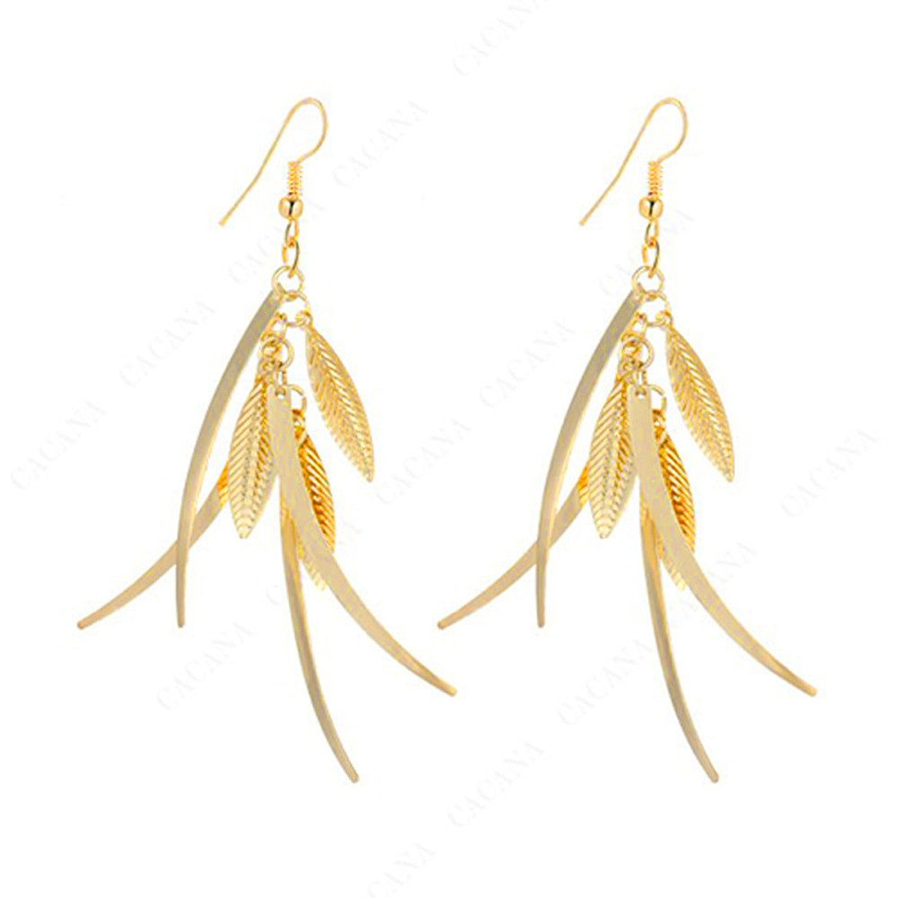 18k Gold Plated or Platinum Plated Multiple Leaves Drop Earrings