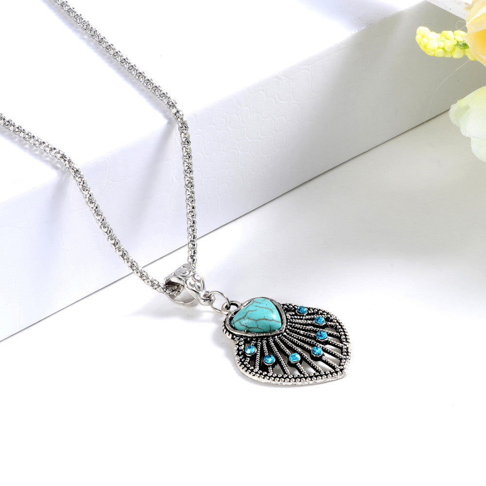 Ethnic Tibetan Silver Natural Turquoise Heart Drop Pendant Necklace with AAA+ Austrian Crystals - DesignIN