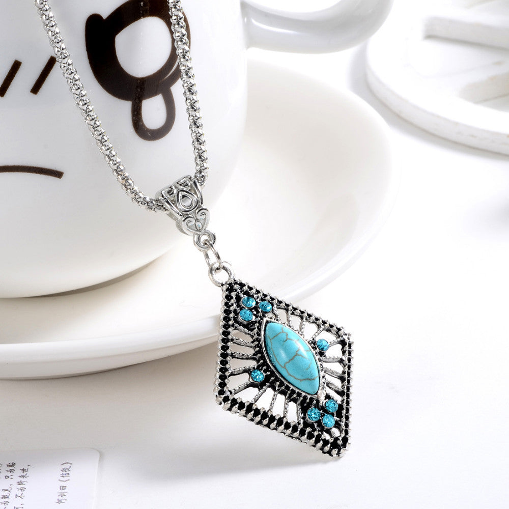 Ethnic Tibetan Silver Natural Turquoise Pendant Necklace with AAA+ Austrian Crystals - DesignIN
