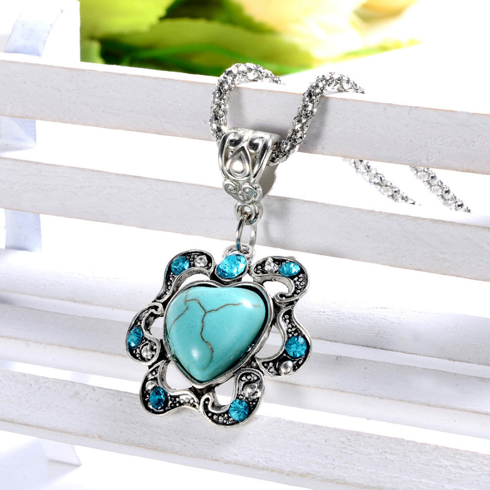 Tibetan Silver Heart Flower Shape Natural Turquoise Pendant Necklace with AAA+ Austrian Crystals - DesignIN