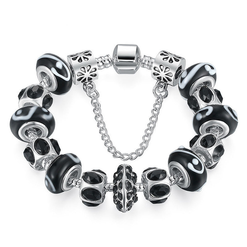 Black Crystal Bead Charm Bracelet with Safety Chain - DesignIN
