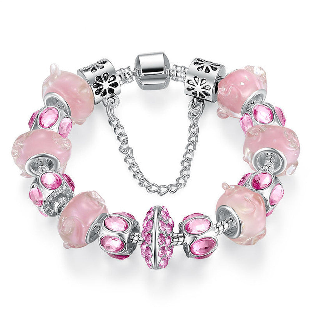 Pink Crystal Bead Charm Bracelet with Safety Chain - DesignIN