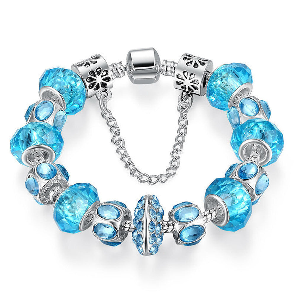Blue Crystal Bead Charm Bracelet with Safety Chain - DesignIN