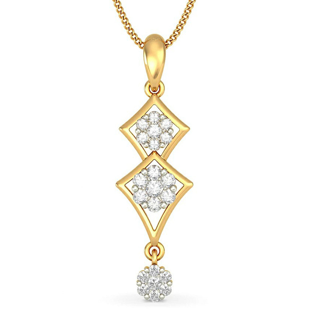 14K Solid Yellow Gold 0.43CTTW Real Natural Diamond Pendant Necklace