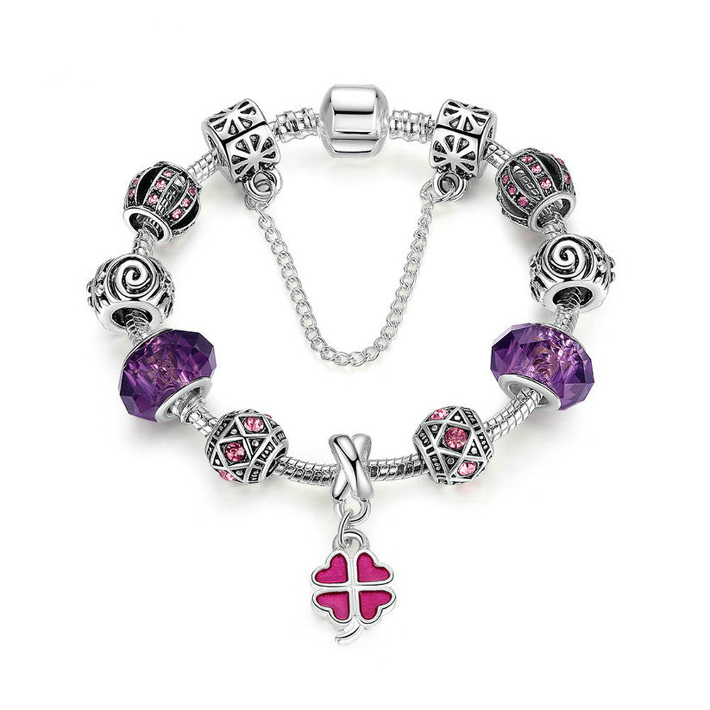 Silver Plated Charm Bracelet with Purple Glass Beads & Pink Clover and Safety Chain - DesignIN