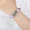 Silver Purple Glass Beads with Heart Flower Pendant Charms Bracelet - DesignIN