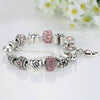 Silver Plated Pink Zircon Friendship Charm Bracelet with Butterfly Beads Love Pendant & Safety Chain - DesignIN