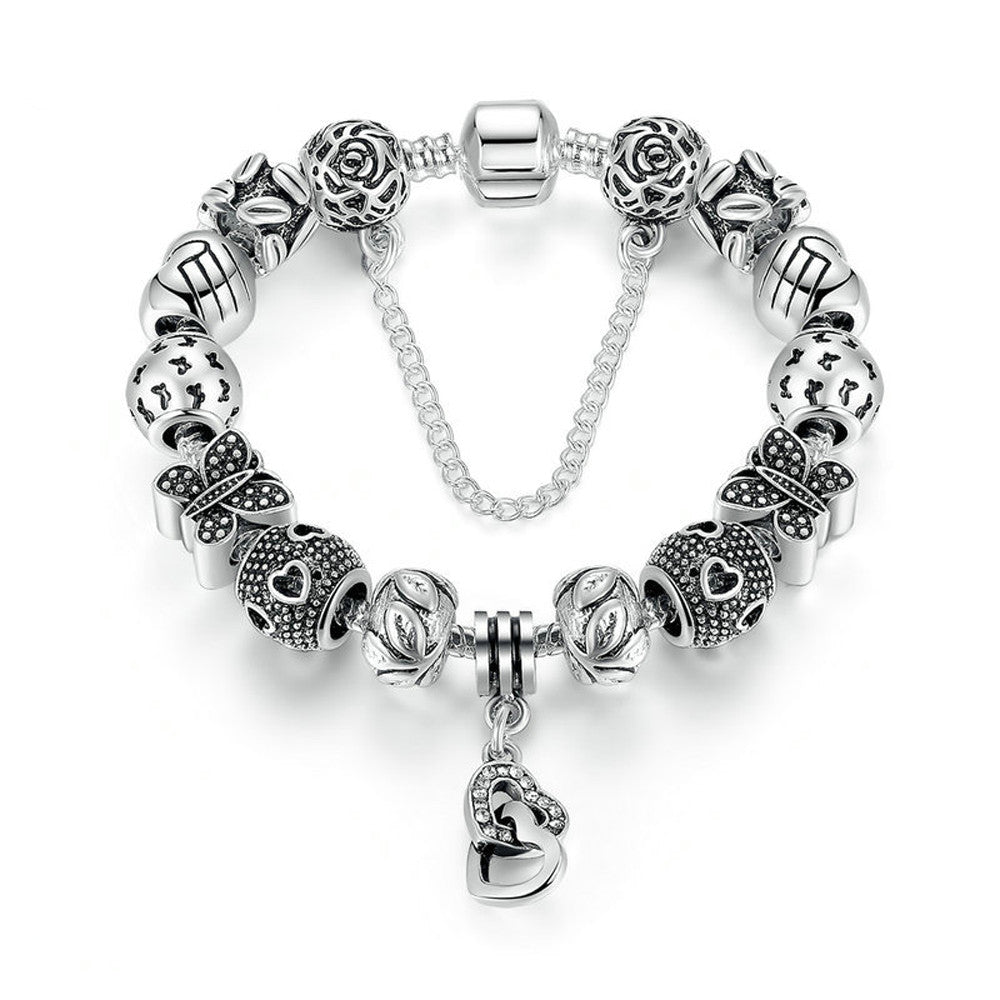 Silver Plated Friendship Charm Bracelet with Heart, Heart Pendant, Butterfly Beads and Safety Chain - DesignIN