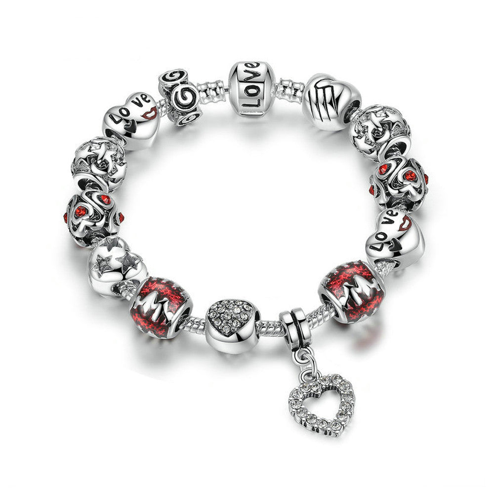 Handmade Silver Plated Red Glass Bead Love Heart Charm Bracelet - DesignIN