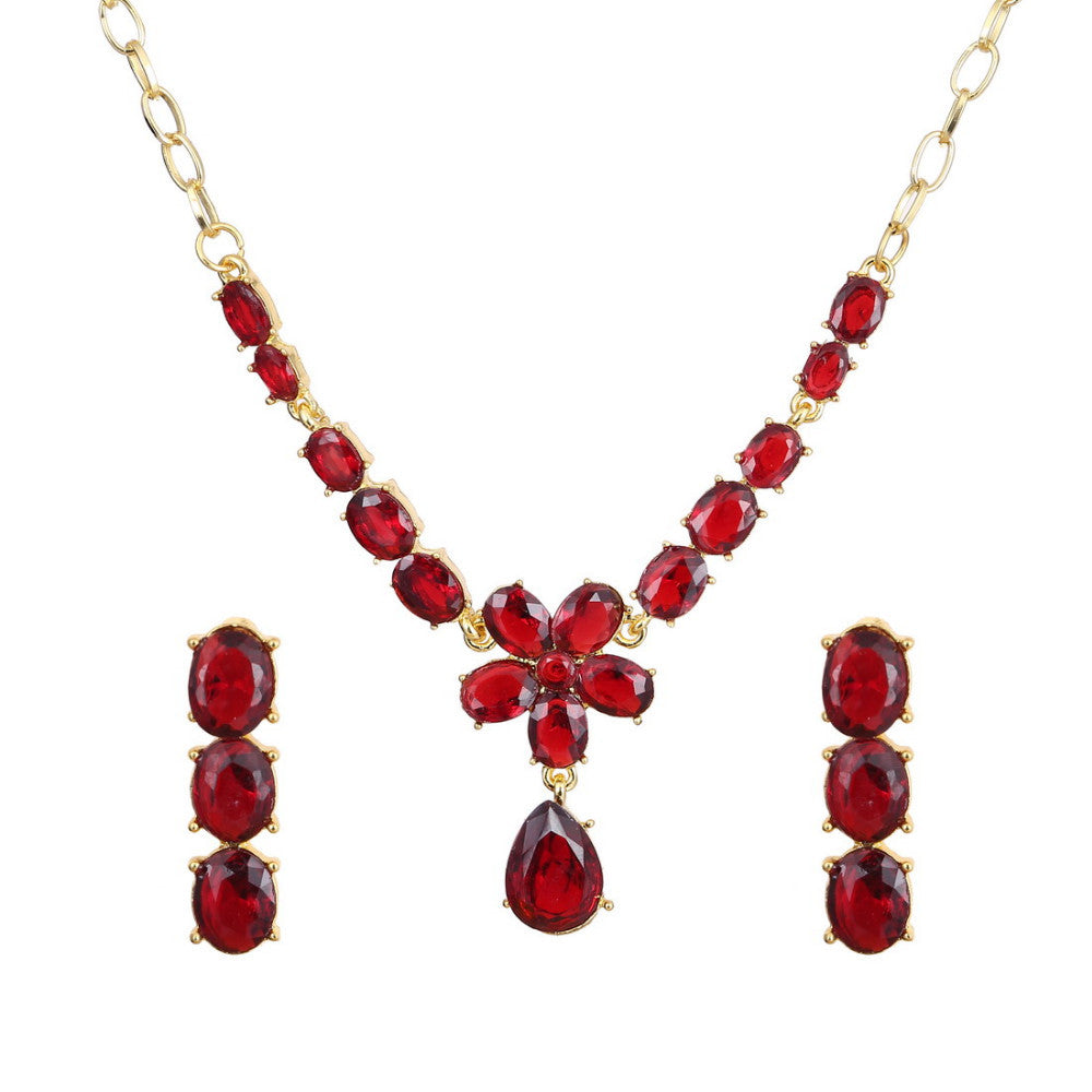 Classic 18k Gold Plated Jewelry Set with Red AAA+ Austrian Crystals - Necklace & Earrings - DesignIN