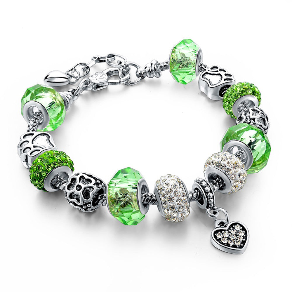 Authentic Tibetan Silver Green Crystal and Rhinestones Charm Bracelets DIY Beads