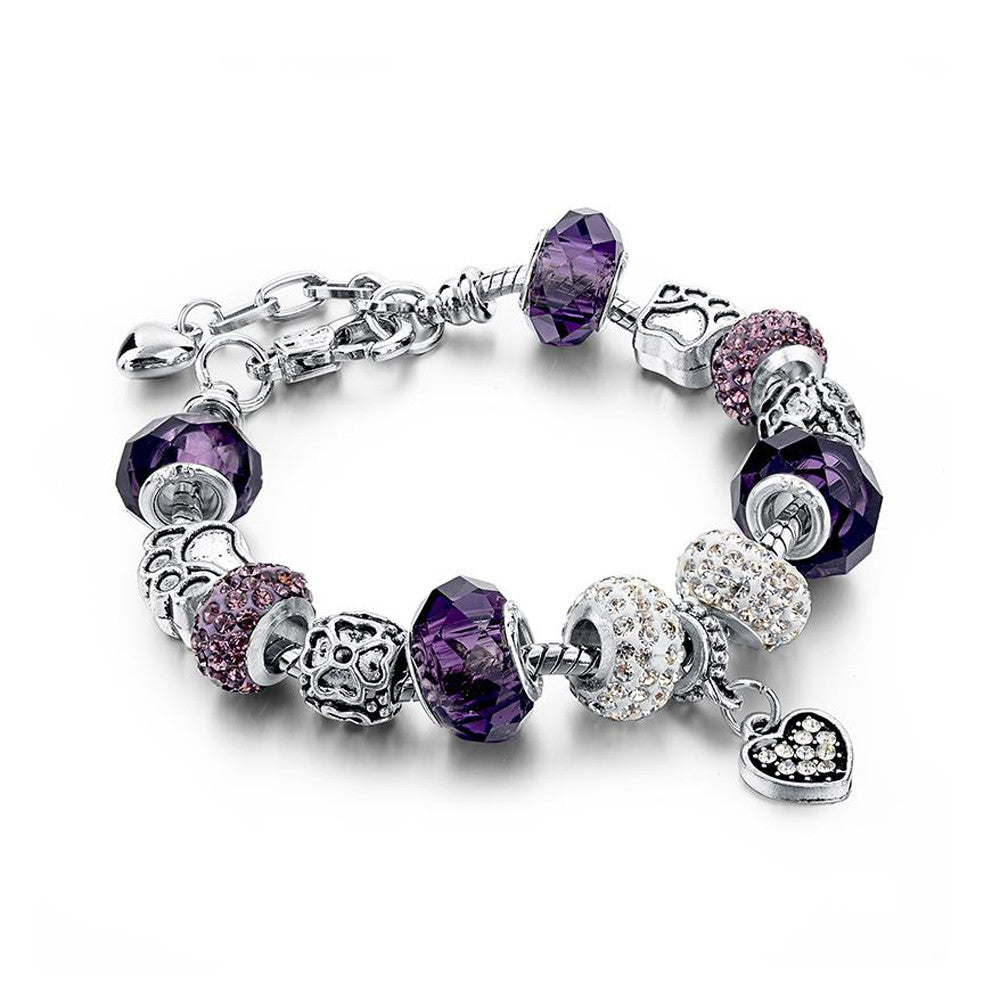 Authentic Tibetan Silver Purple Crystal and Rhinestones Charm Bracelet with Heart Pendant DIY Beads - DesignIN
