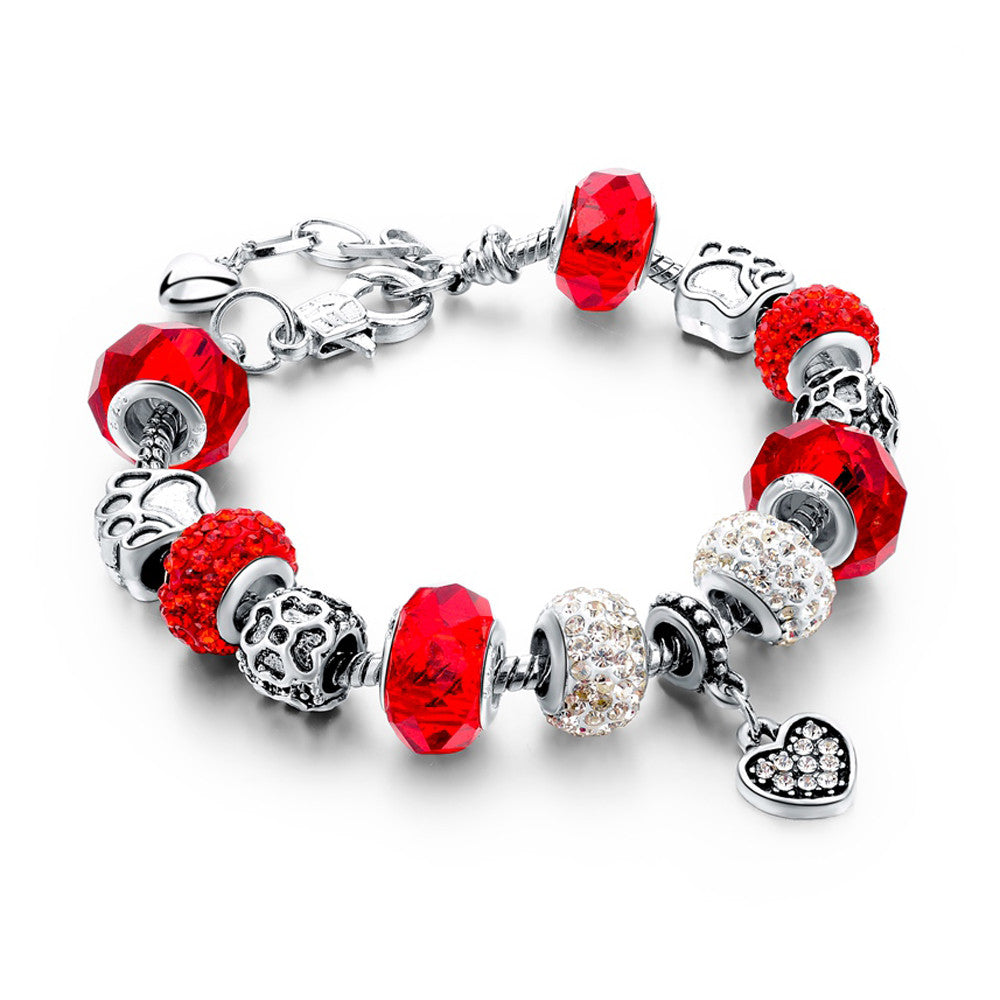 Authentic Tibetan Silver Red and White Crystal Charm Bracelets DIY Beads - DesignIN