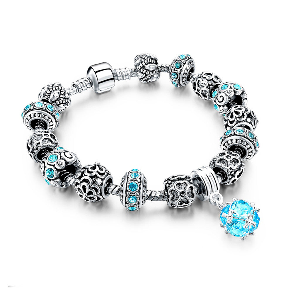 Authentic Tibetan Silver Blue Crystal Charm Bracelets DIY Beads - DesignIN