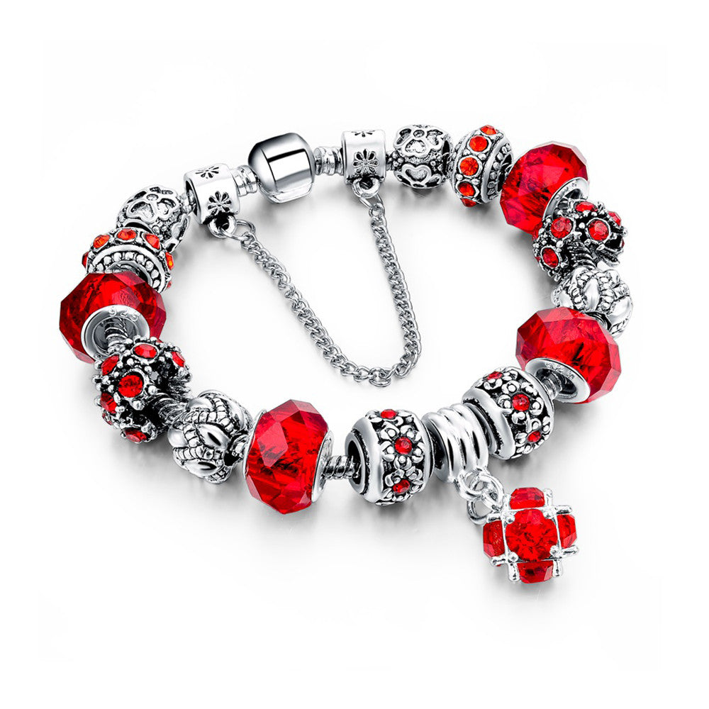 Authentic Tibetan Silver Red Crystal Charm Bracelets DIY Beads - DesignIN