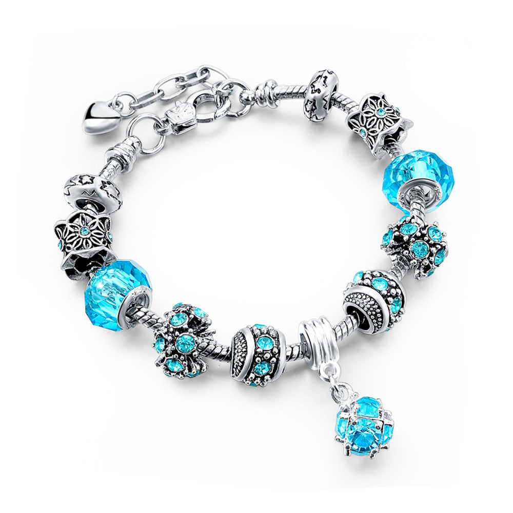 Authentic Tibetan Silver Blue Crystal and Rhinestones Charm Bracelets DIY Beads - DesignIN