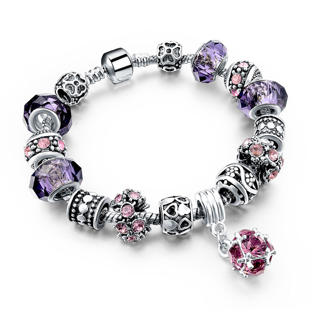 Authentic Tibetan Silver Purple Crystal Charm Bracelets DIY Beads - DesignIN