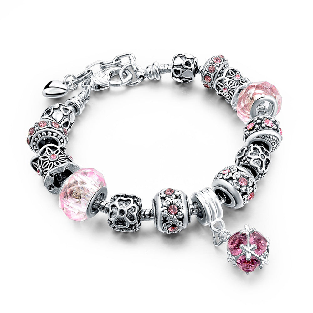Authentic Tibetan Silver Pink Crystal and Rhinestones Charm Bracelets DIY Beads - DesignIN