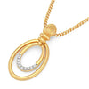14K Solid Two-tone Gold Necklace Pendant Real Natural Diamonds - DesignIN