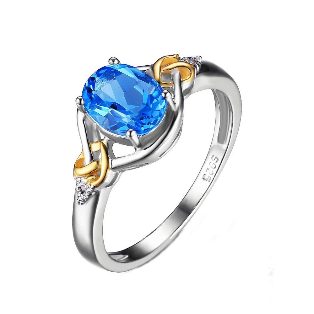 925 Sterling Silver 1.5ct Natural Blue Topaz Love Knot Ring - DesignIN