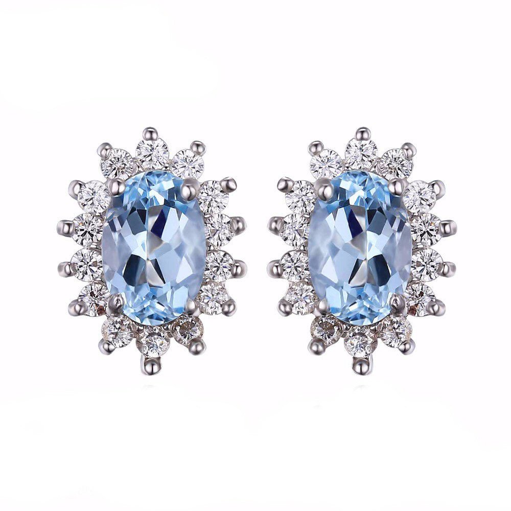 925 Sterling Silver Genuine Natural Topaz Gemstone Stud Earrings - DesignIN