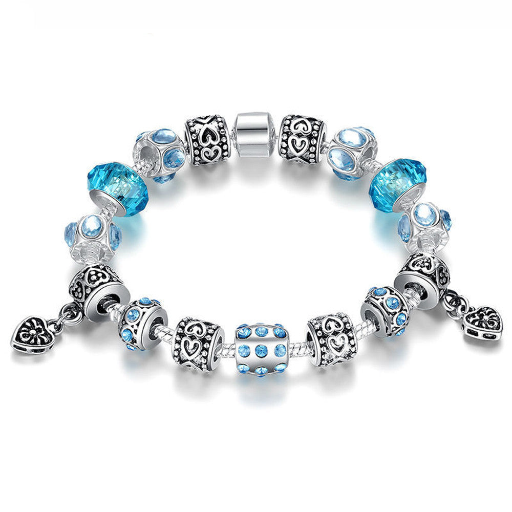 Crystal Charm Bracelet with Blue Murano Glass Beads - DesignIN