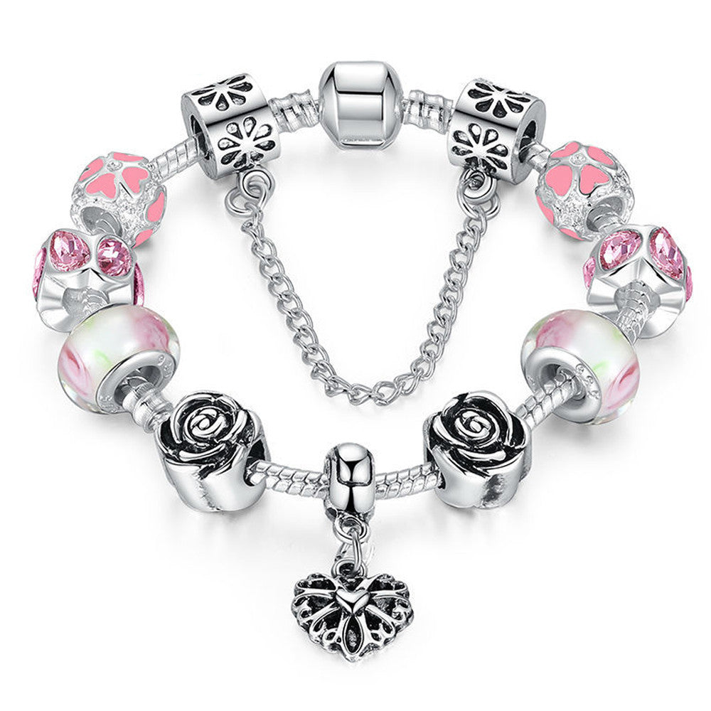 Silver Heart Charm Bracelet with Safety Chain & Pink Beads - DesignIN