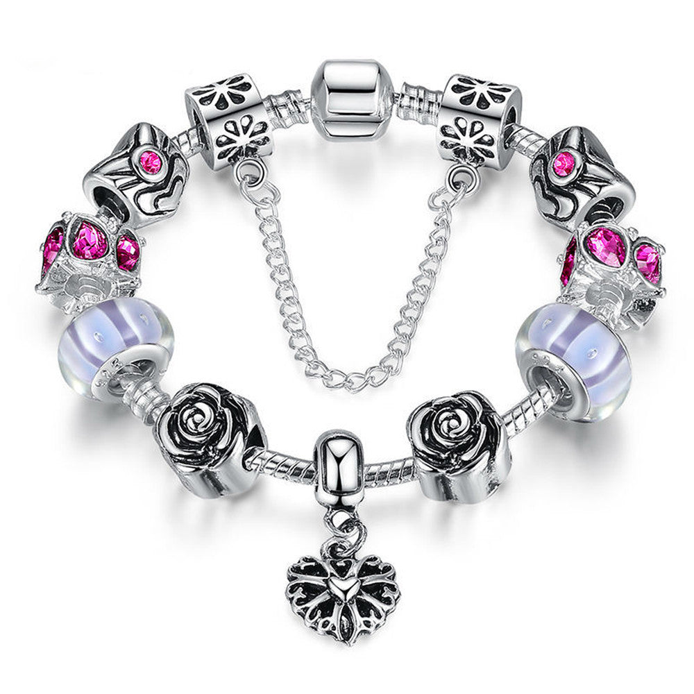 Silver Heart Charm Bracelet with Safety Chain & Purple Beads - DesignIN