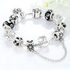 Silver Heart Charm Bracelet with Safety Chain & Black Beads - DesignIN