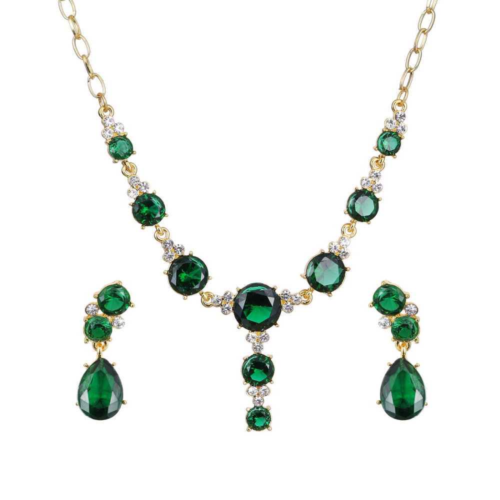 18k Gold plated Green AAA+ Austrian Crystal Drop Pendant Necklace Earrings Jewelry Set - DesignIN