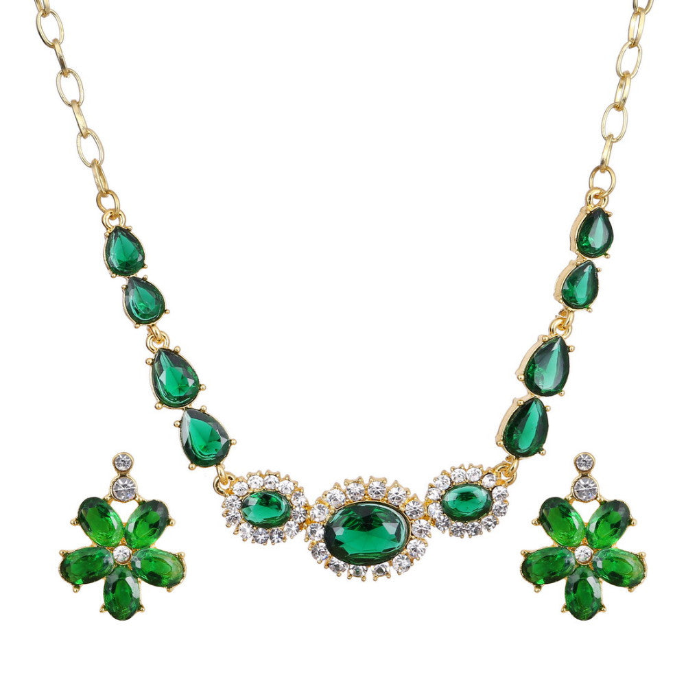 Classic Flower Design 18K Gold Plated Green AAA+ Austrian Crystal Jewelry Set - DesignIN