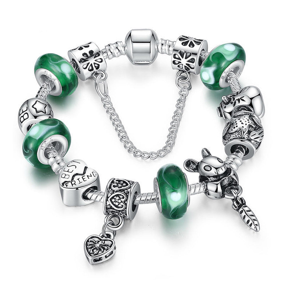 Silver Green Beads Best Friend Charm Bracelet with Safety Chain - DesignIN
