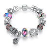 Silver Crown Pendant Colorful Murano Beads Charm Bracelet - DesignIN